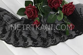 Мереживо з квіточками на дрібній сіточці чорного кольору, ширина 12 див. №198-332