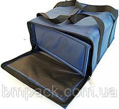 Термосумка для доставки пиццы двойная т.синяя застёжка молния, фото 3