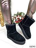 Угги женские черные высокие натуральная  замша, фото 5