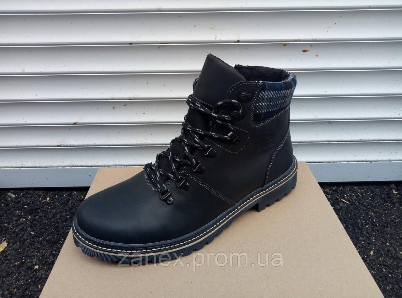 Зимние ботинки RS Creative синие очень теплые, натуральный мех и кожа
