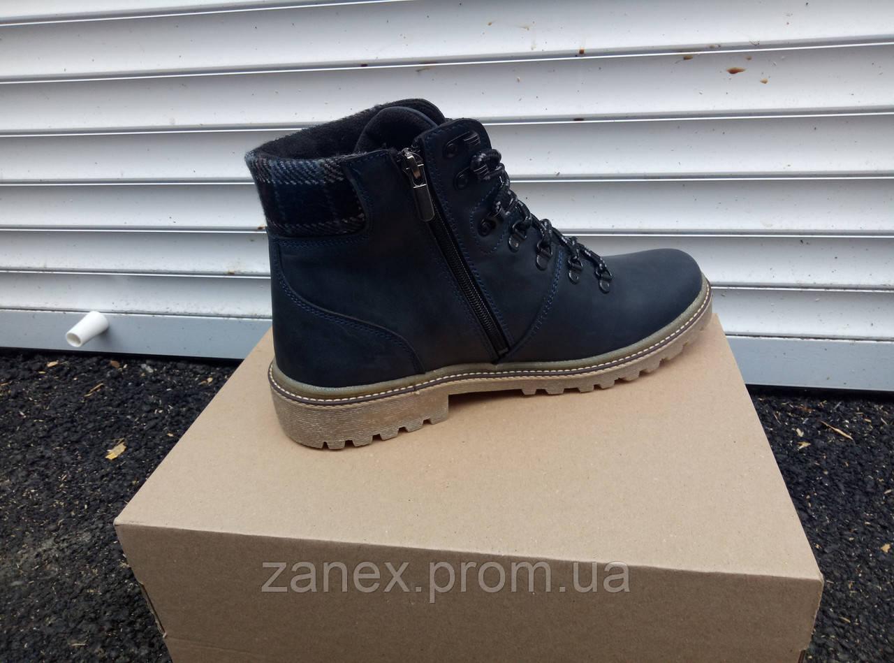 Ботинки RS Creative мужские зимние, очень теплые, натуральный мех и кожа (черные)