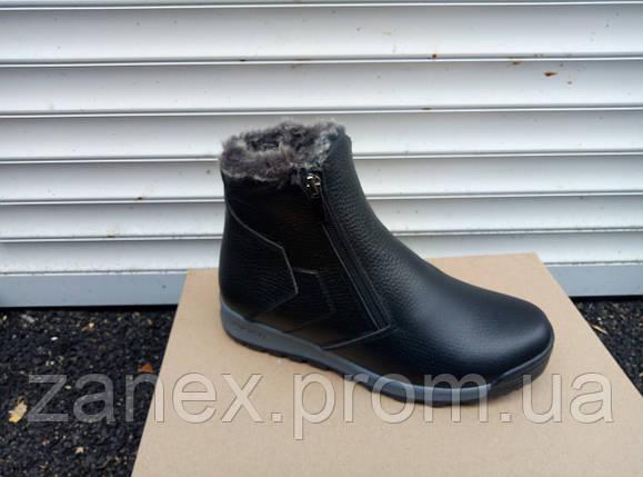 Ботинки мужские зимние, очень теплые, натуральный мех и кожа (черные), фото 2