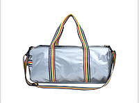 Большая спортивная молодежная сумка с яркими ручками, серебряная, фото 1
