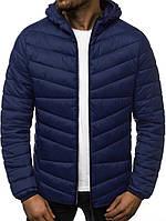 Осенняя курточка мужская из полиэстера теплая качественная с капюшоном, синяя