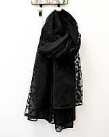 Модный женский легкий шарф черного цвета