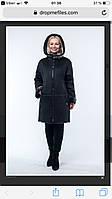 Дубленка женская длинная черная с карманами, зимняя экодубленка, с эффектом пропитки