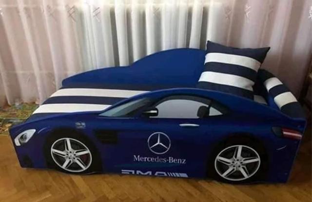 Кровать детская машина серии Elit Е-4 Mercedes blue (Фото 3)
