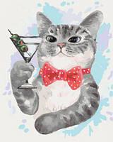 """Картина по номерам """"Кот с мартини"""" КНО4074 scs"""