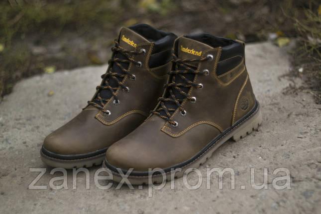 Ботинки Timberland мужские зимние, очень теплые, натуральный мех и кожа (коричневые), фото 2