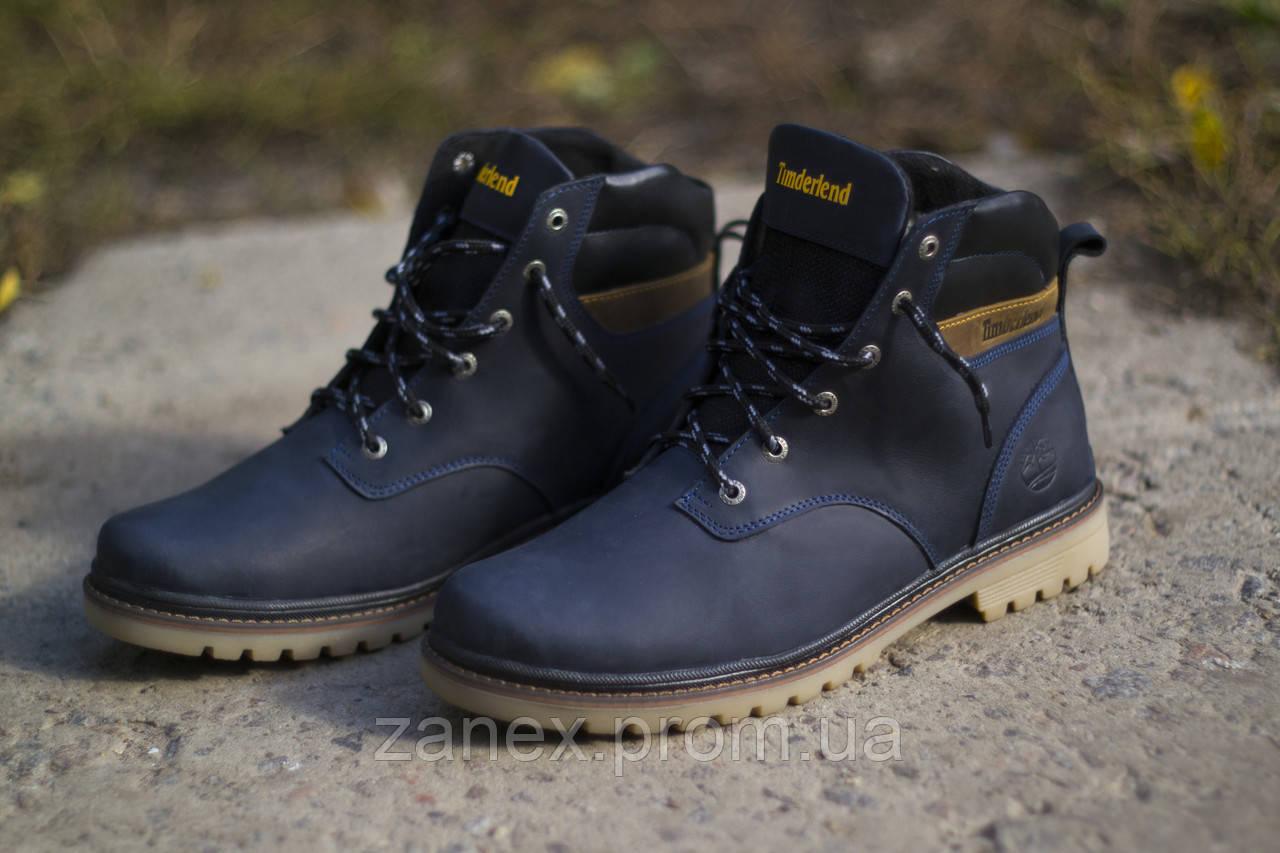 Ботинки Timberland, мужские зимние, очень теплые, натуральный мех и кожа (темно-синие)
