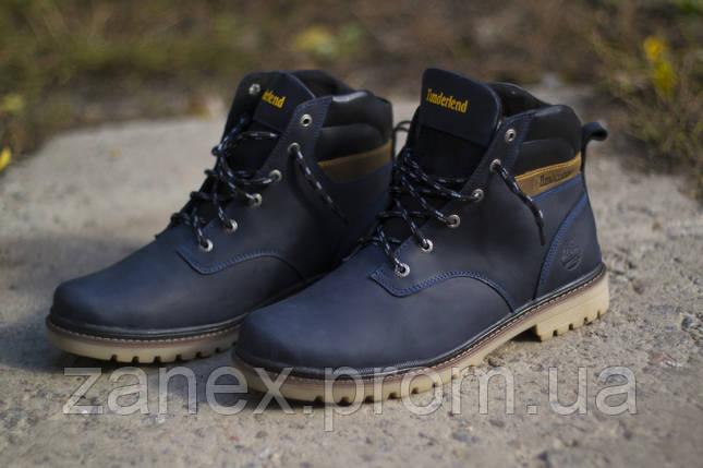 Ботинки Timberland, мужские зимние, очень теплые, натуральный мех и кожа (темно-синие), фото 2