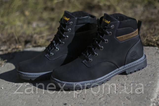 Ботинки Timberland мужские зимние, очень теплые, натуральный мех и кожа (черные), фото 2