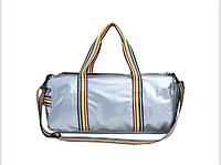 Большая спортивная молодежная сумка с яркими ручками, серебряная, опт, фото 1