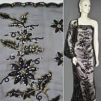 Сетка черная с цветами из черных пайеток и цветной вышивкой, ш.130 (12923.001)