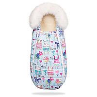 Зимний конверт кокон на овчине ДоРечі Baby XS Голубой с рисунками