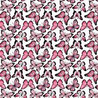 Хлопковая ткань Бабочки ярко-розовые