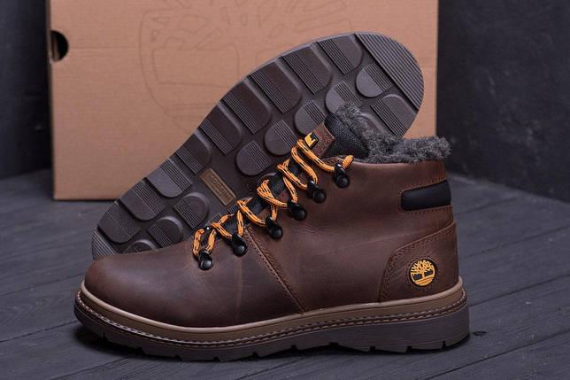 Мужские зимние кожаные ботинки в стиле Timberland Chocolate, фото 2