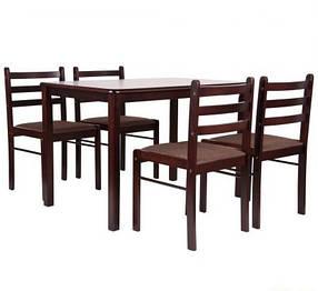 Комплект обеденный Брауни (стол+4 стула) темный шоколад/эспрессо (AMF-ТМ)