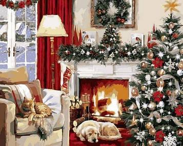 Картина за номерами 40×50 див. Babylon Різдвяний інтер'єр Художник Річард Макнейл (VP 787)