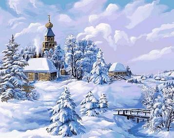 Картина за номерами 40×50 див. Babylon Зима в селі Художник Віктор Циганов (VP 818)