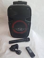 Аккумуляторная автономная колонка c радиомикрофоном Wimpex WX 8082 Bluetooth, SD+USB, пульт