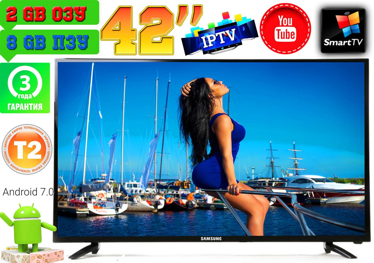 "Телевізори 42"" Samsung Super Slim, 8Gb SmartTV LED! 4K, IPTV, Android 9, T2, WIFI, USB КОРЕЯ!"