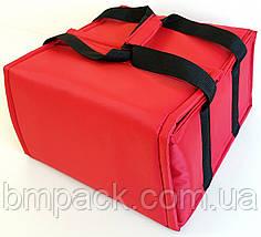 Термосумка для доставки пиццы двойная красная застёжка липучка, фото 2