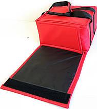Термосумка для доставки пиццы двойная красная застёжка липучка, фото 3