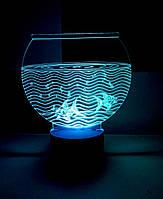 Ночник Аквариум с рыбками, 3д светильник лампа, разные подсветки