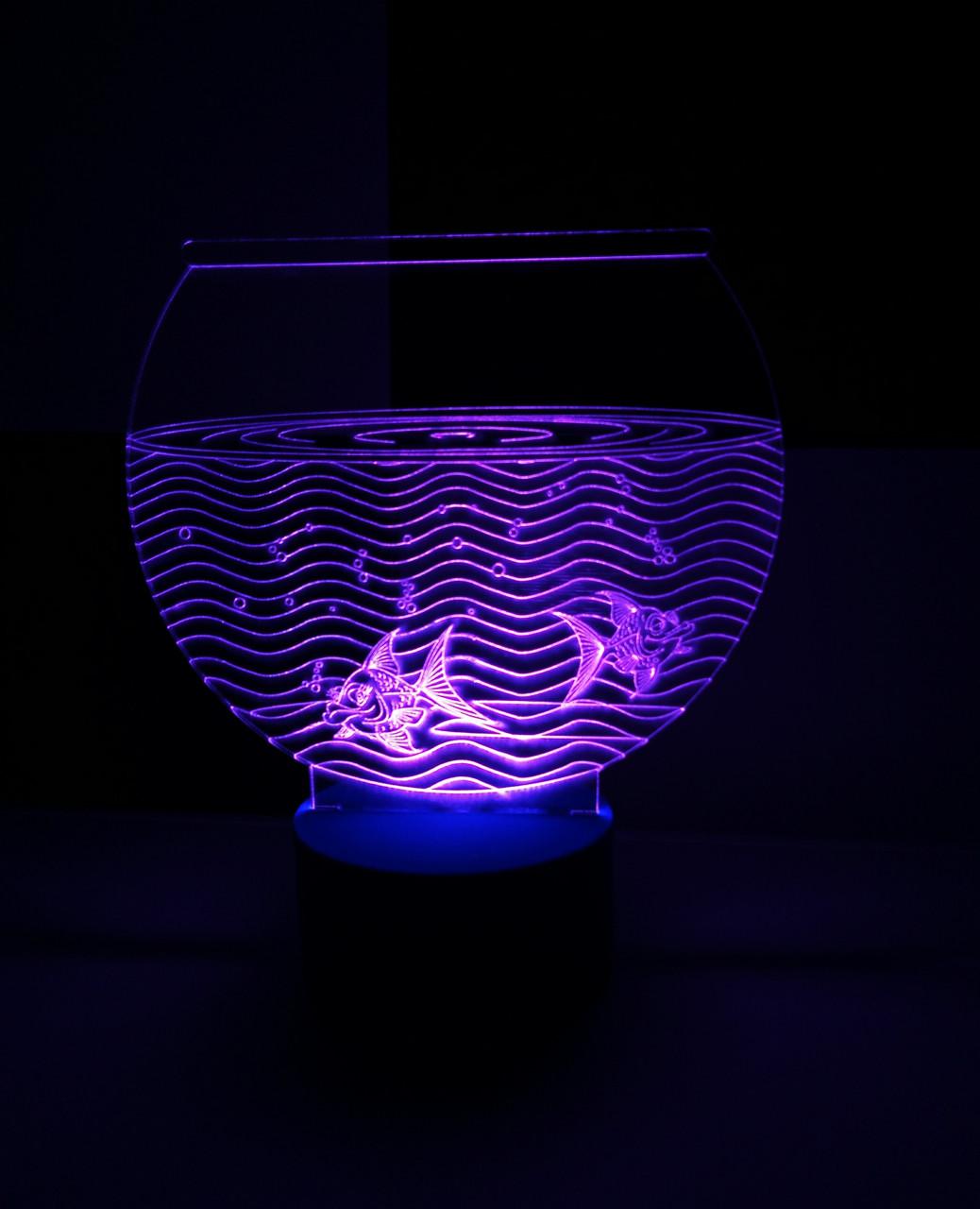 3d-светильник Аквариум с рыбками, 3д-ночник, несколько подсветок (на батарейке), подарок аквариумисту