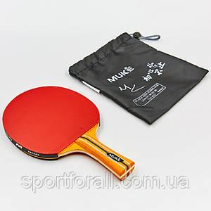 Ракетка для настольного тенниса 1 штука в чехле MK 1STAR (древесина, резина) Код 1STAR