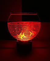 3d-светильник Аквариум с рыбками, 3д-ночник, несколько подсветок (батарейка+220В)