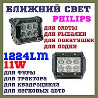 Дополнительные светодиодные фары led квадратные 12-24v CYCLONE WL B1 18W