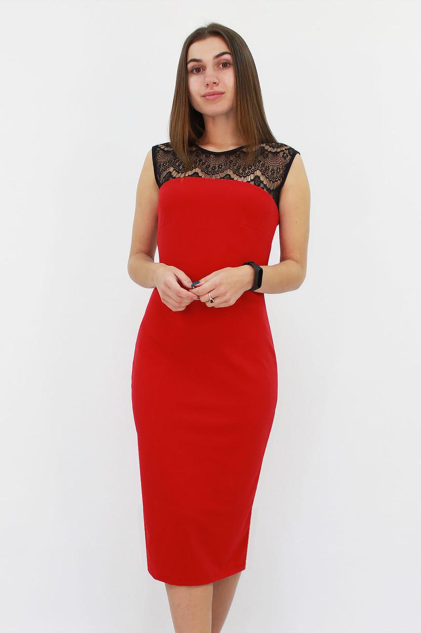 S | Вечірнє жіноче плаття з мереживом Verona, червоний