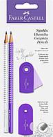 Набор Faber-Castell 2 карандаша чернографитных Grip Sparkle Pearl с точилкой и ластиком Sleeve, 218475