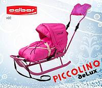 Санки пиколино с капюшоном, муфтой, спинкой, ручкой PICCOLINO deLux (розовый)
