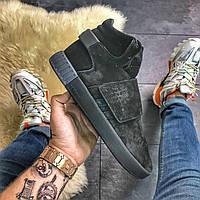 Мужские замшевые кроссовки Adidas Tubular Invader Suede Snap Full Black / Адидас Тубулар Инвайдер, черные