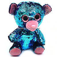 Мягкая игрушка Медвежонок из пайеток-перевертышей Глазастики, фото 1