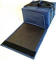 Термосумка для доставки пиццы двойная т.синяя застёжка липучка, фото 2