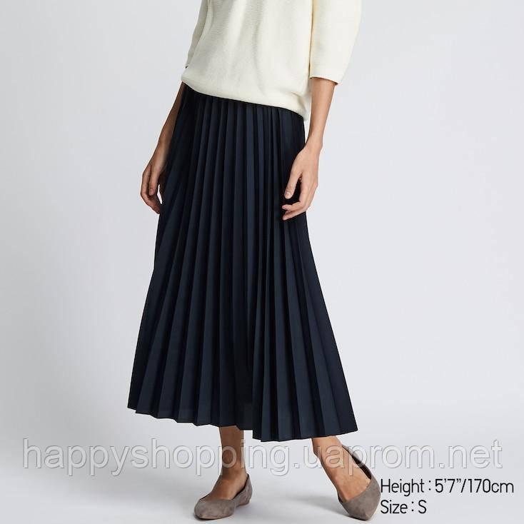 Женская темно-синяя плиссированная юбка с высокой посадкой Uniqlo