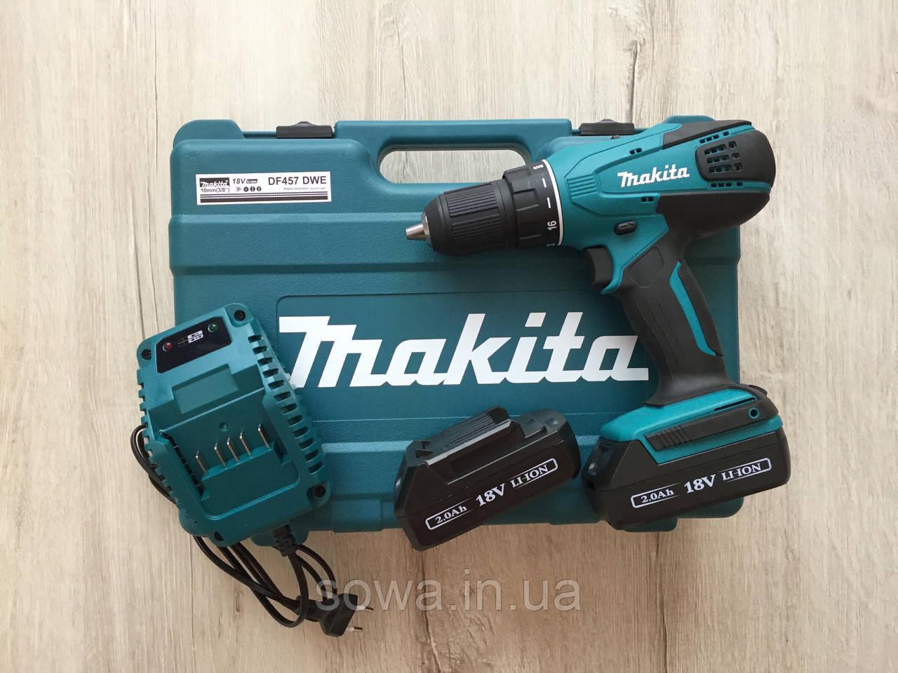 ✔️ Шуруповерт Makita DF457DWE | 18V | 24Нм | LED – підсвічування