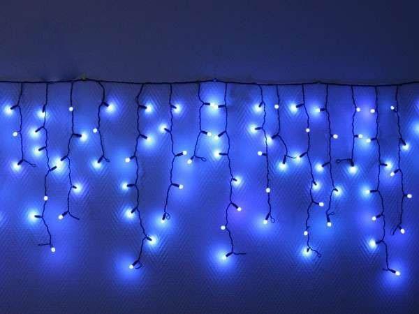 """Уличная LED гирлянда Бахрома """"Icicle"""" 5 метров Синяя, 100 Ламп черный провод каучук пвх, 8 режимов"""