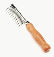 Расческа Safari Shedding Long Hair с деревянной ручкой для длинной шерсти