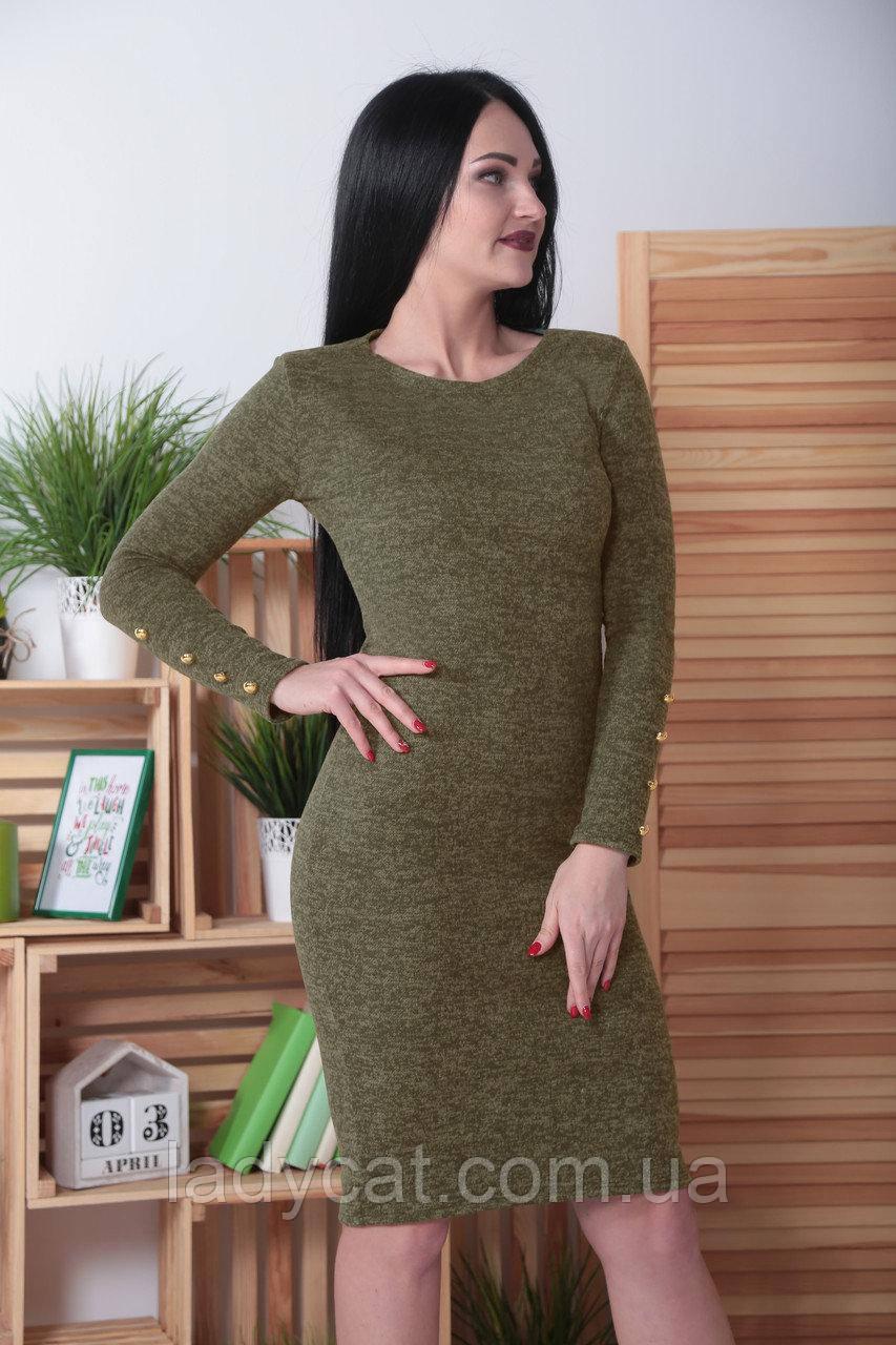 Стильное платье до коленс длинным рукавом из ангоры цвет: хаки