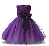 Праздничное платье на девочку фиолетовое с бантом на 3-8 лет