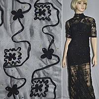 Сетка стрейч черная с настроченными черными цветами и бусинами (14301.001)