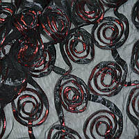 Сетка стрейч черная с красными цветами, ш.140 (14303.002)