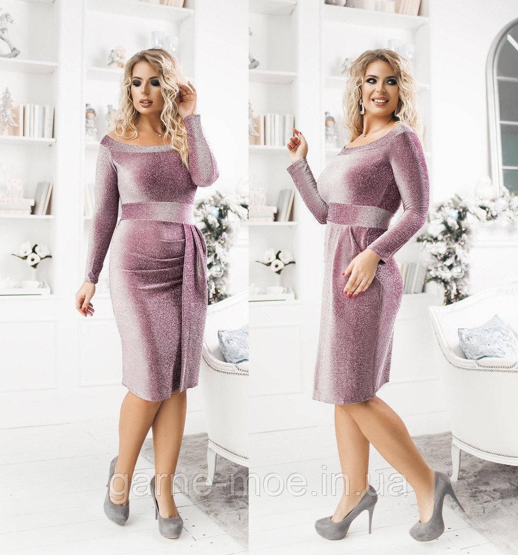 НН46017 Женское нарядное платье батал с люрексом