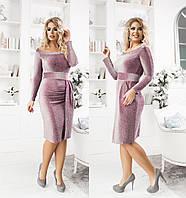 НН46017 Женское нарядное платье батал с люрексом, фото 1