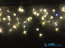 Светодиодная гирлянда уличная Бахрома Flash 3х0.7 м 100LED Каучук Теплый белый на черном проводе